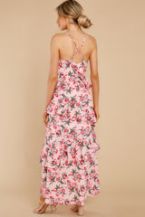 6 Flirtatious Meetings Pink Floral Print High-Low Dress at reddress.com
