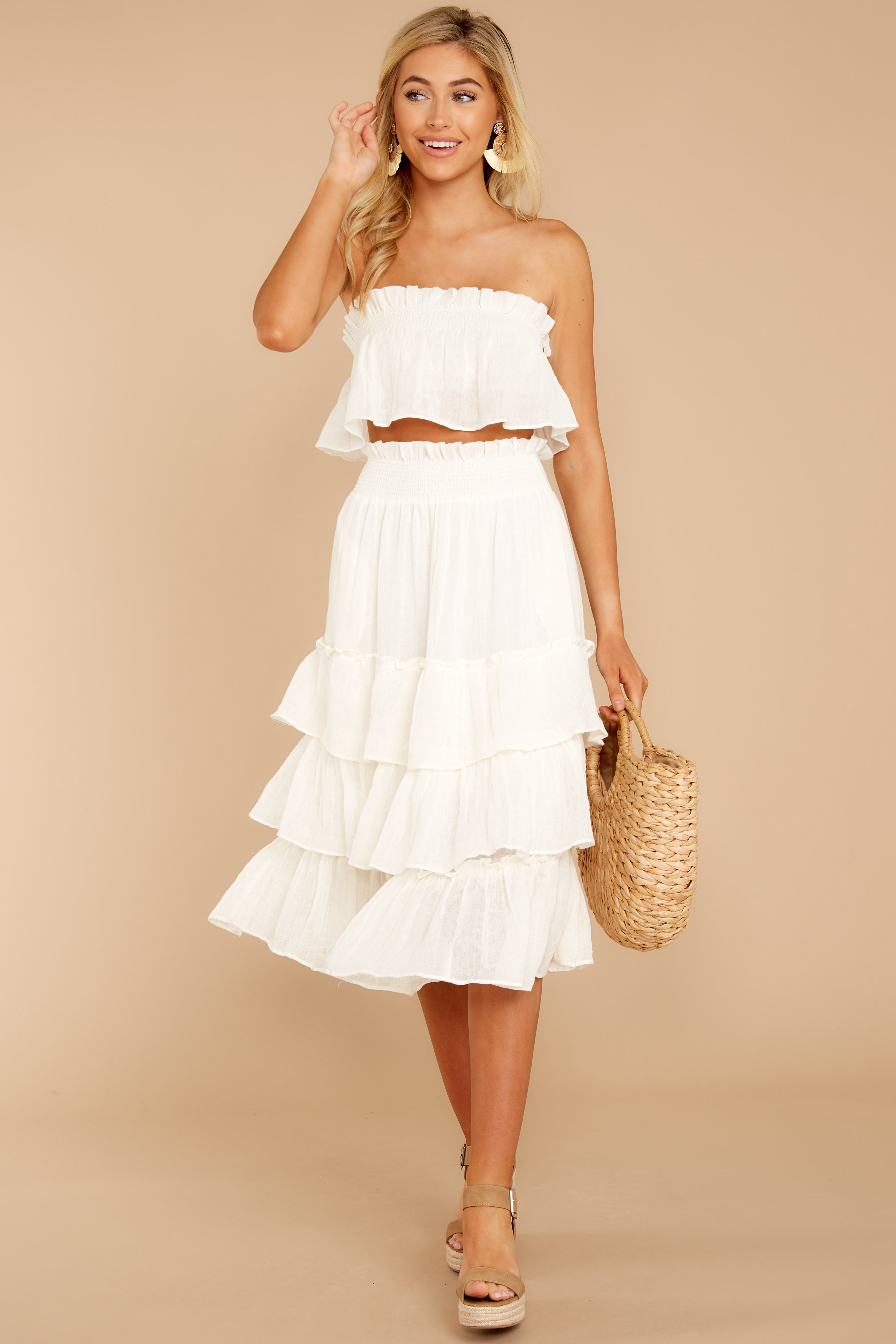 2 Look Lively White Two Piece Set at reddress.com