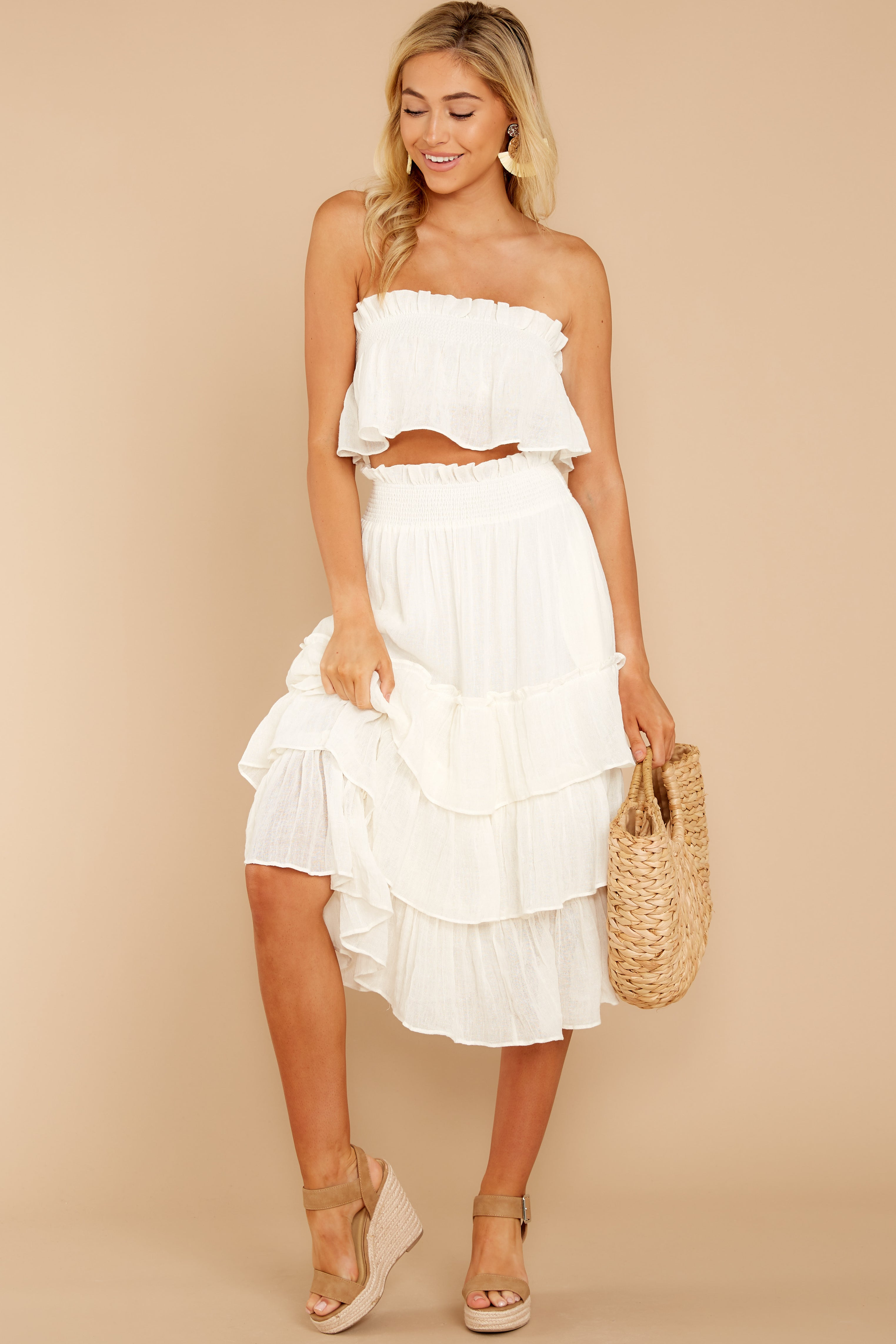 3 Look Lively White Two Piece Set at reddress.com