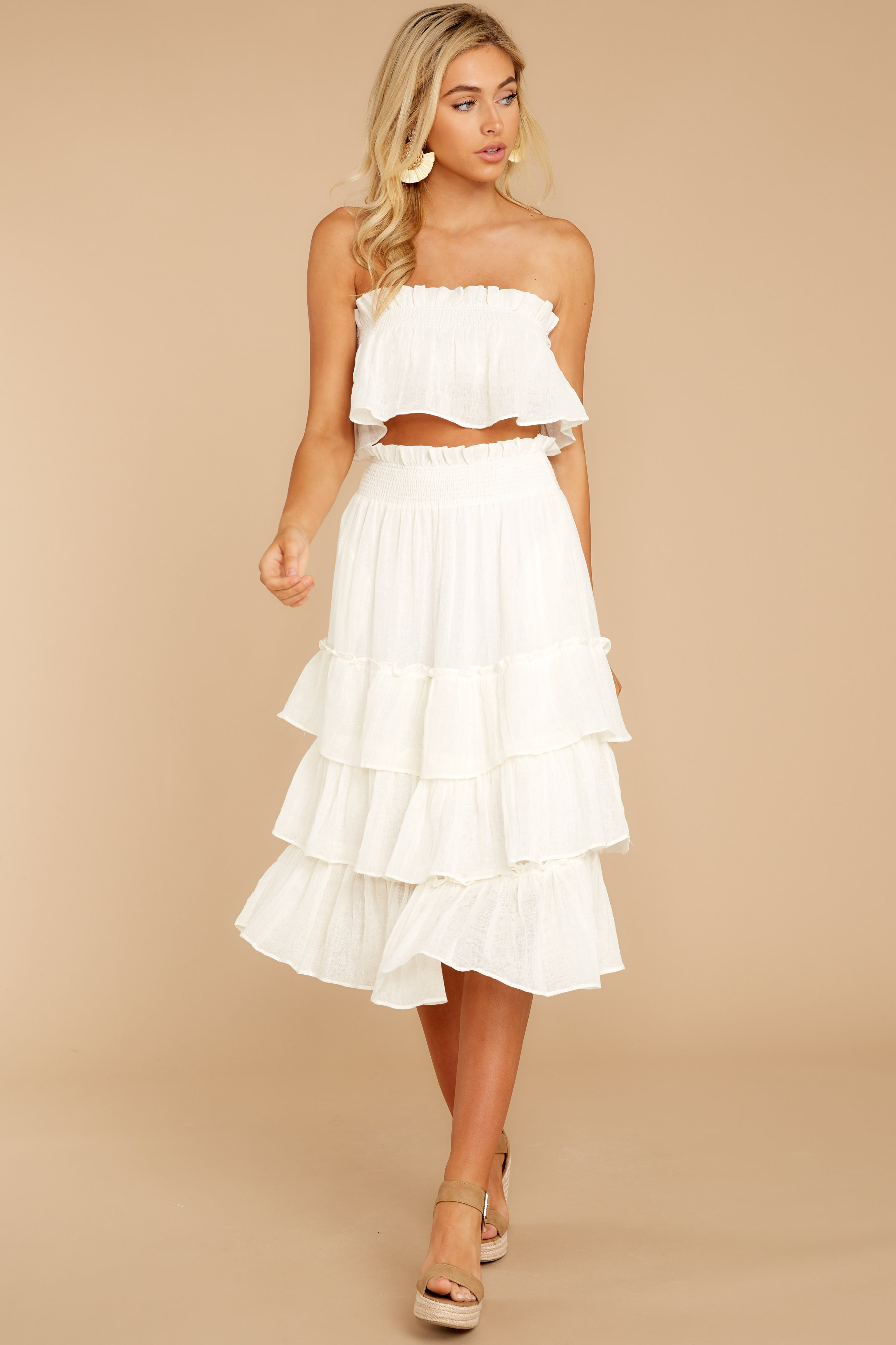 7 Look Lively White Two Piece Set at reddress.com