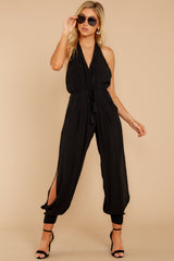 7 Close Enough Black Jumpsuit at reddressboutique.com