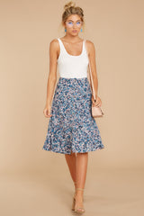 2 Gather Wildflowers Blue Floral Print Midi Skirt at reddressboutique.com