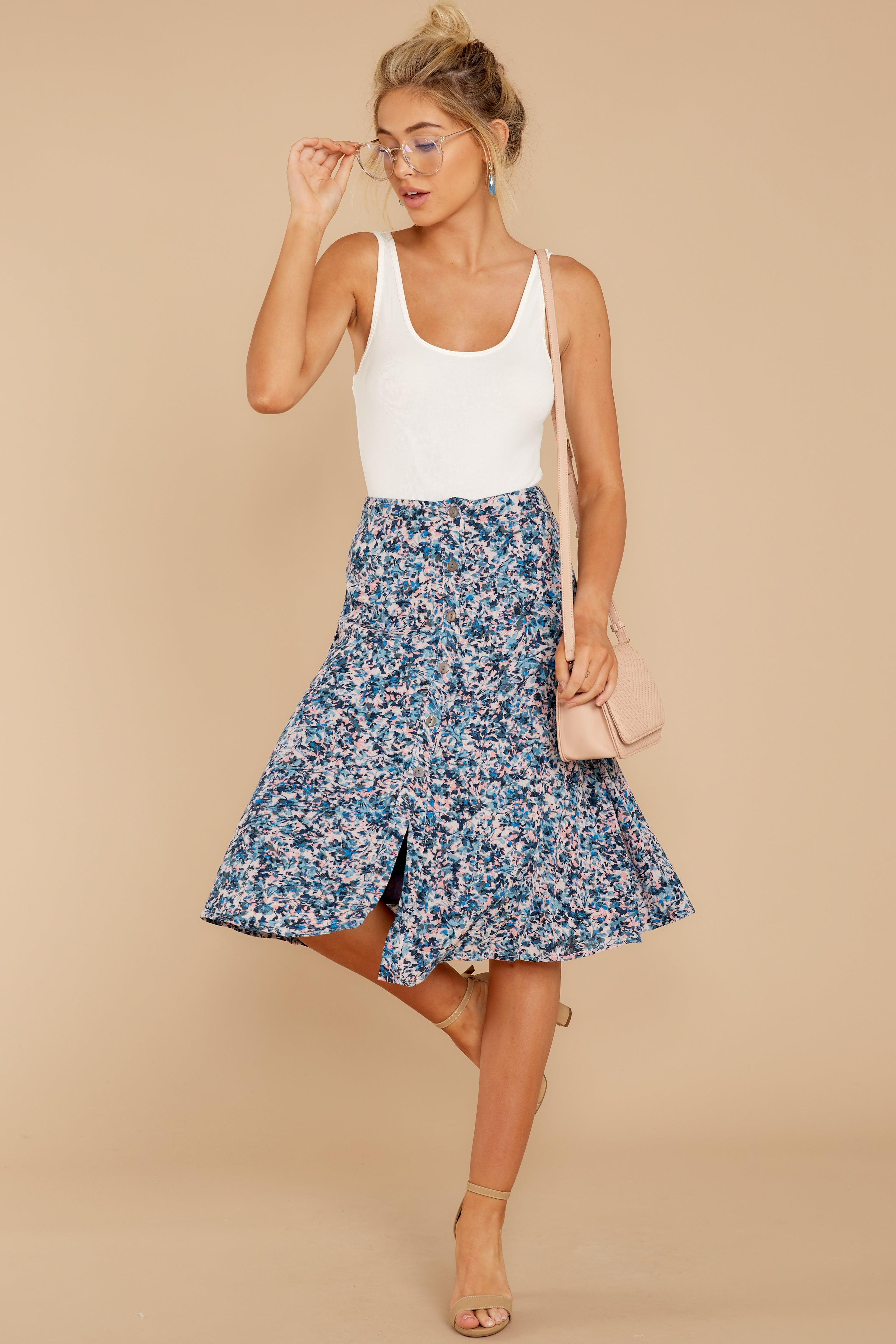 1 Gather Wildflowers Blue Floral Print Midi Skirt at reddress.com