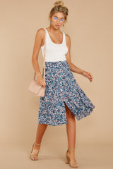 3 Gather Wildflowers Blue Floral Print Midi Skirt at reddressboutique.com
