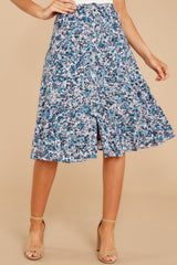 4 Gather Wildflowers Blue Floral Print Midi Skirt at reddress.com