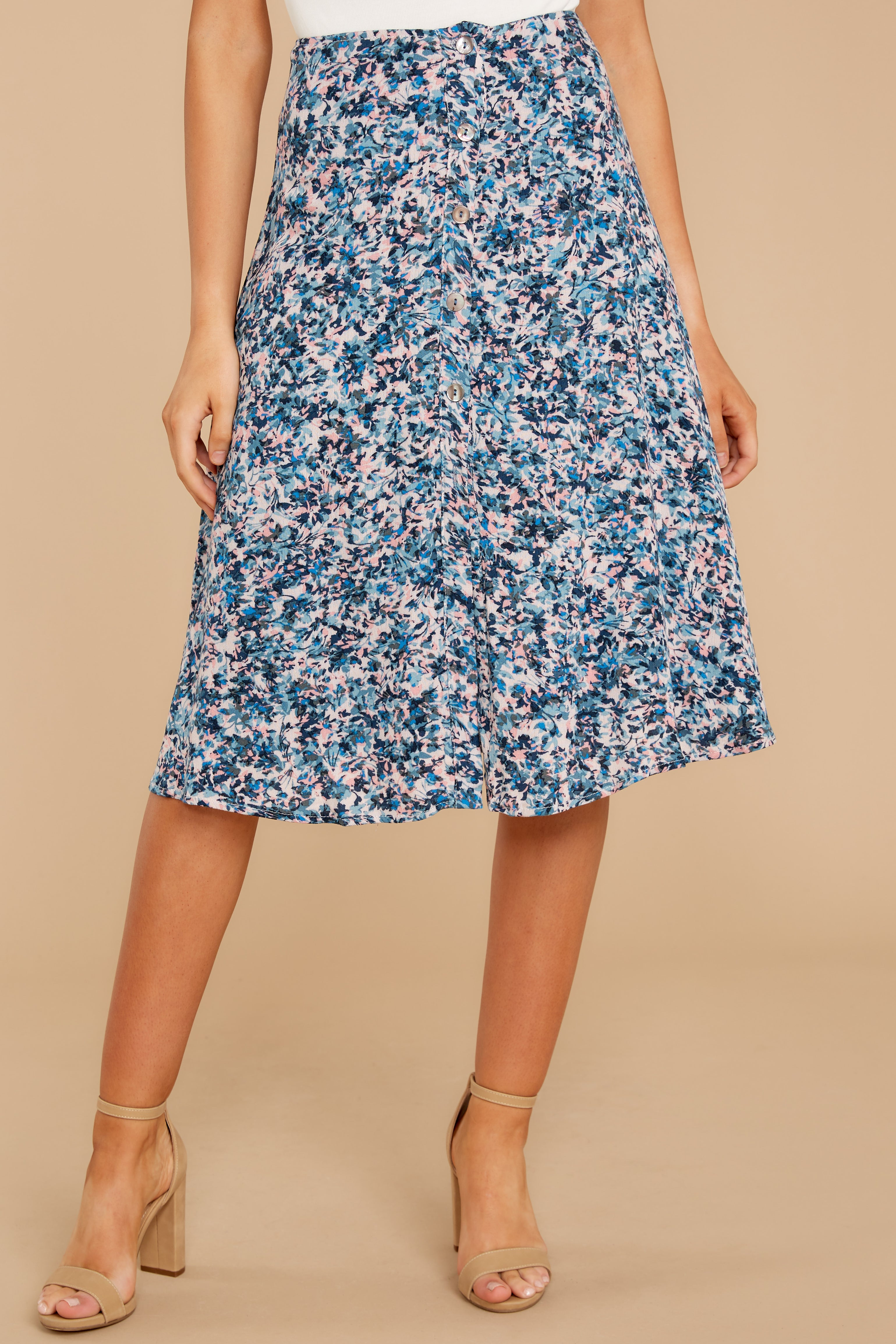 5 Gather Wildflowers Blue Floral Print Midi Skirt at reddress.com