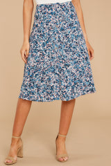 5 Gather Wildflowers Blue Floral Print Midi Skirt at reddressboutique.com