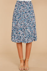6 Gather Wildflowers Blue Floral Print Midi Skirt at reddressboutique.com