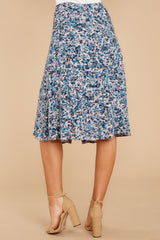 7 Gather Wildflowers Blue Floral Print Midi Skirt at reddressboutique.com