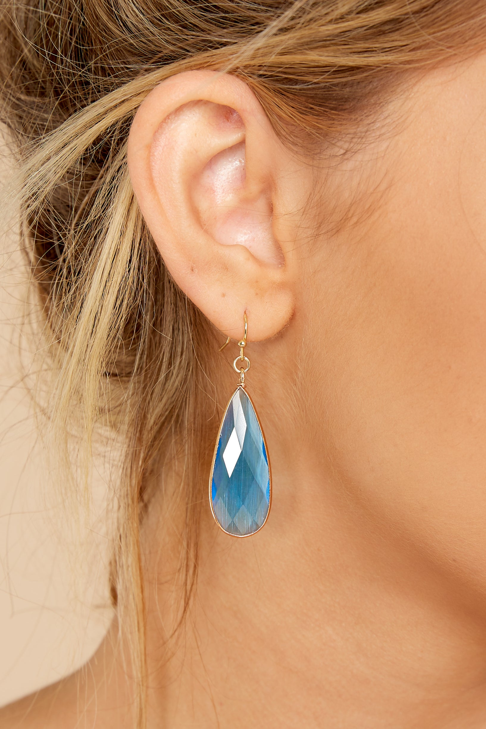 1 Without Warning Blue Earrings at reddressboutique.com