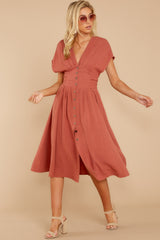 1 Well Balanced Brick Red Midi Dress at reddressboutique.com