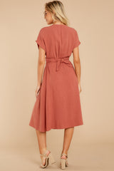 8 Well Balanced Brick Red Midi Dress at reddressboutique.com