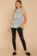 1 Racing The Clock White Cheetah Print Top at reddressboutique.com