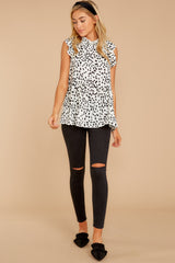 2 Racing The Clock White Cheetah Print Top at reddressboutique.com