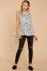 3 Racing The Clock White Cheetah Print Top at reddressboutique.com