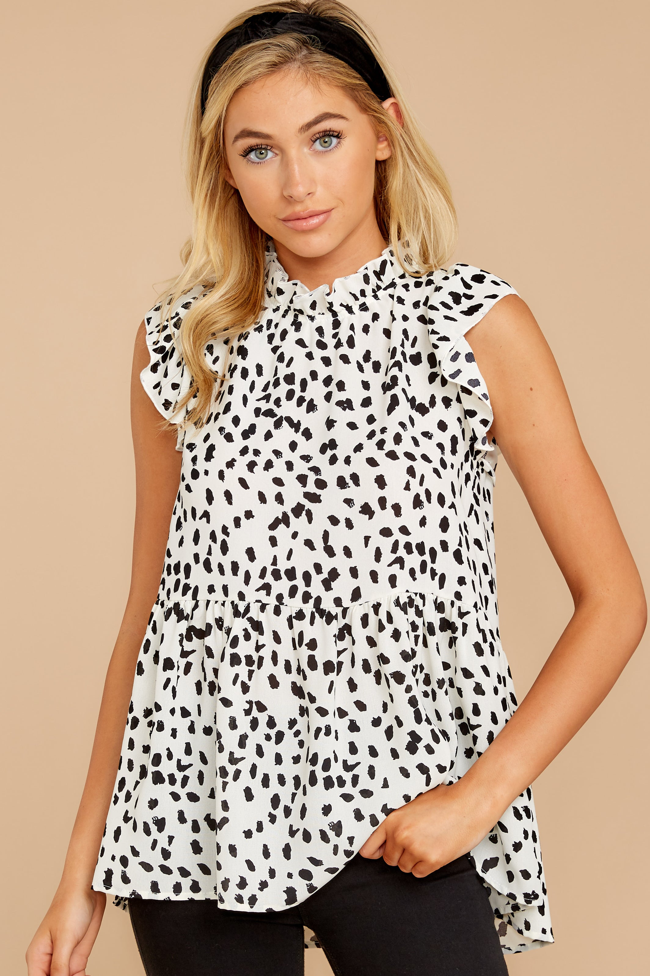 5 Racing The Clock White Cheetah Print Top at reddressboutique.com