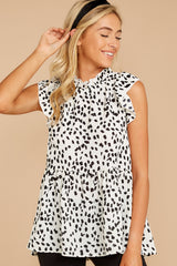 4  Racing The Clock White Cheetah Print Top at reddressboutique.com