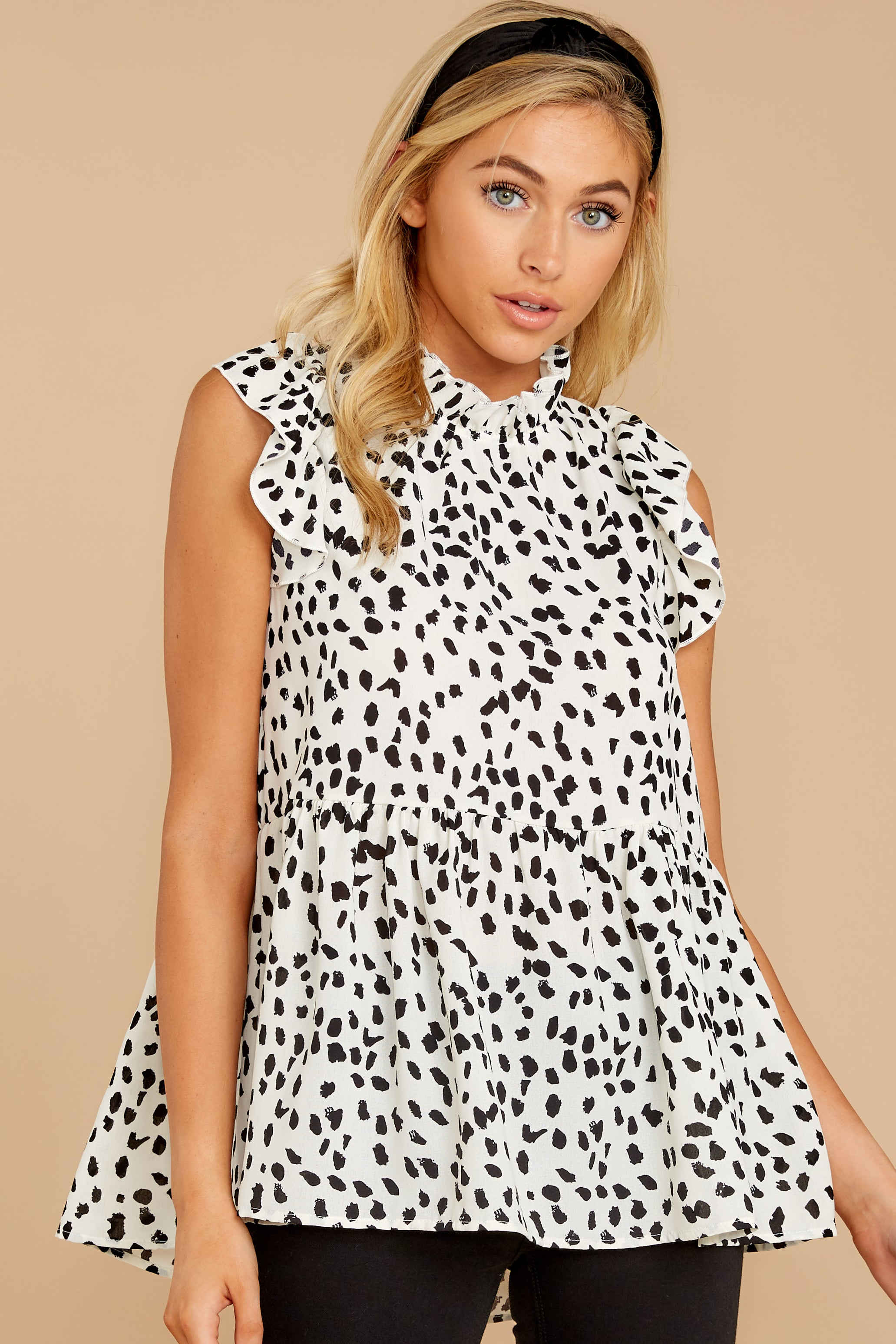 7 Racing The Clock White Cheetah Print Top at reddressboutique.com
