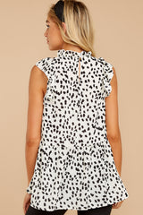 8 Racing The Clock White Cheetah Print Top at reddressboutique.com