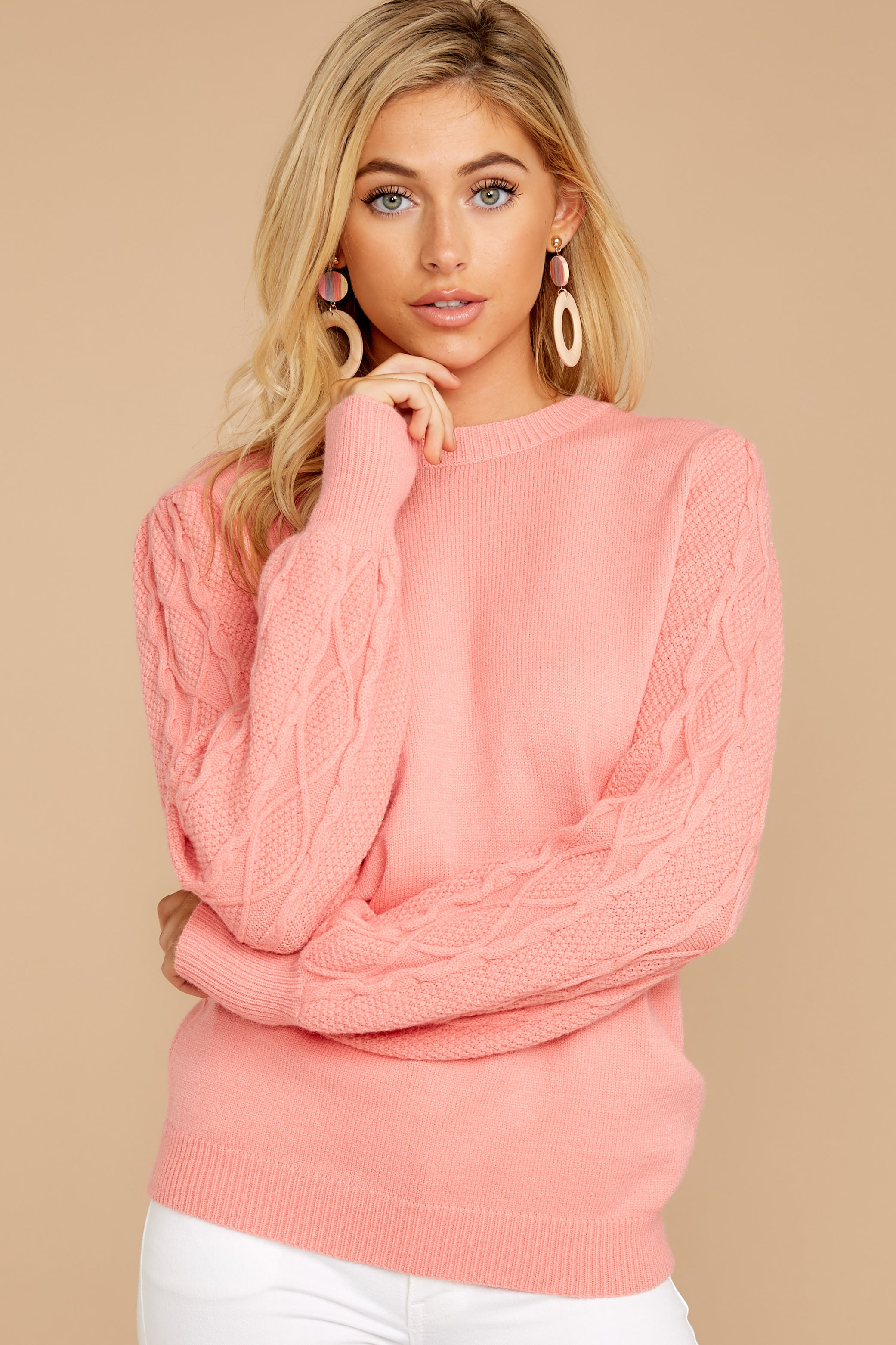 7 Wandering Through Winter Light Pink Sweater at reddressboutique.com