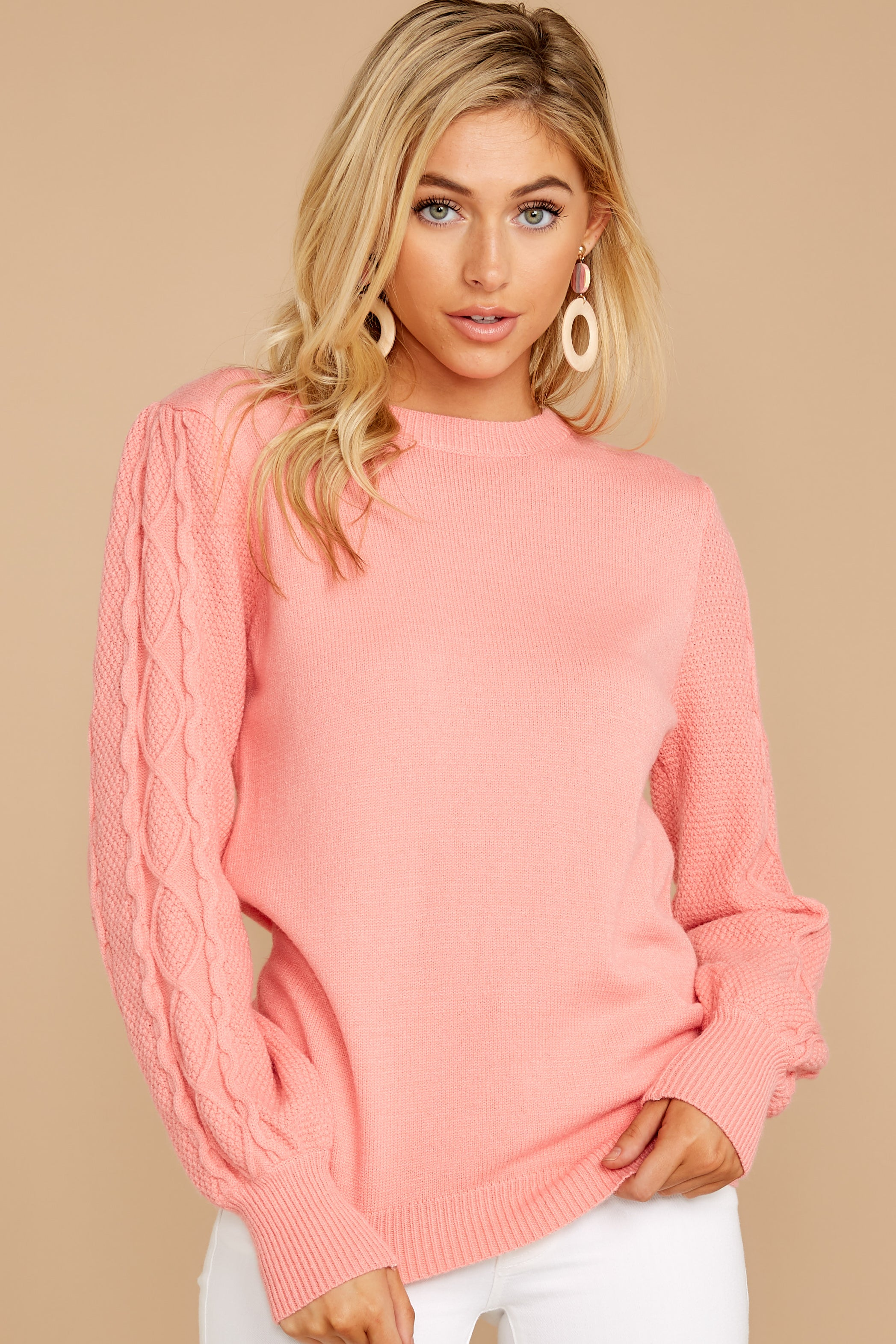 13 Wandering Through Winter Light Pink Sweater at reddressboutique.com