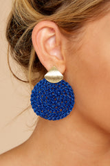 1 Another Kind Of Love Dark Blue Earrings at reddressboutique.com