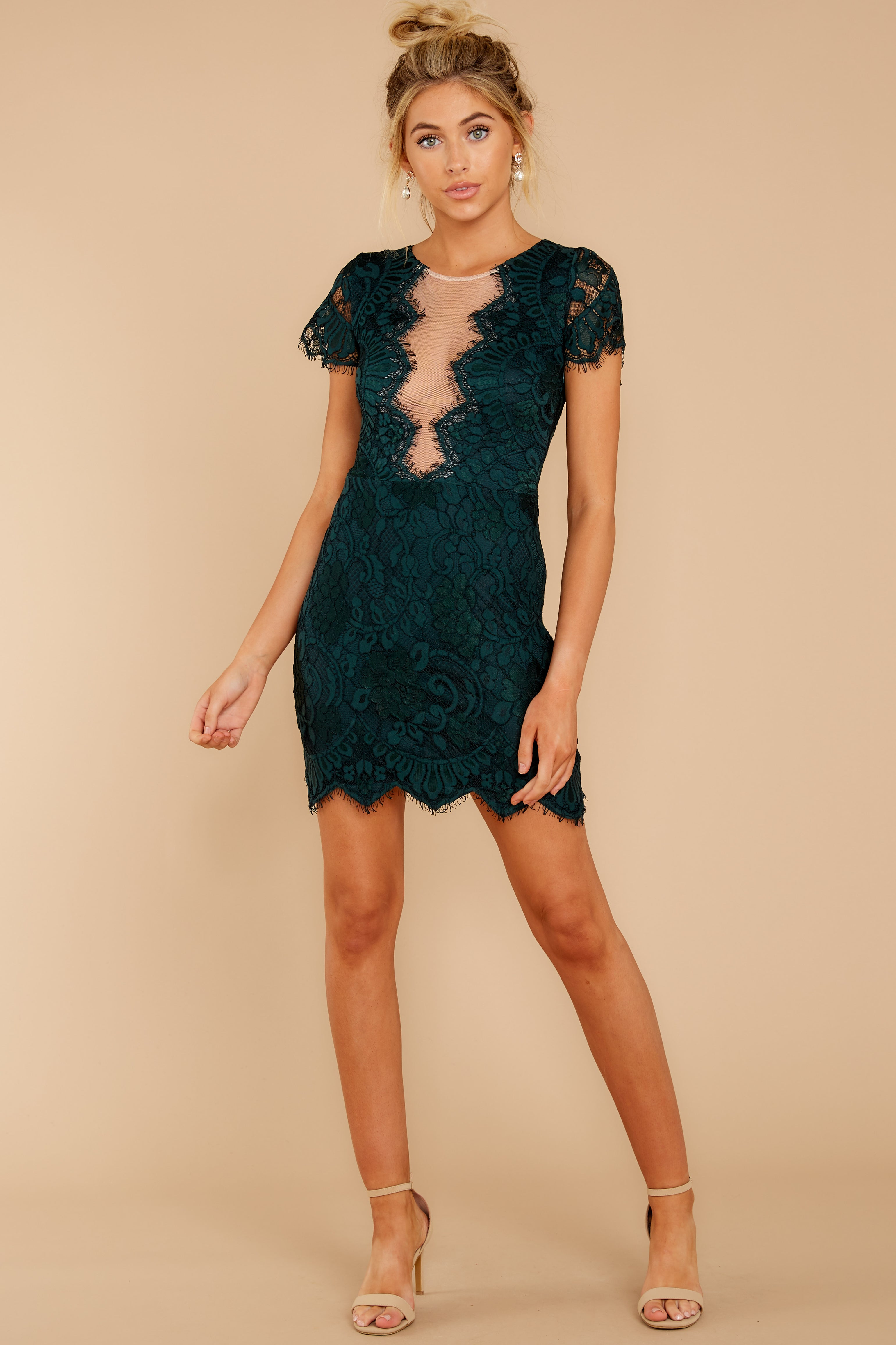 3 Some Nights Dark Emerald Lace Dress at reddressboutique.com