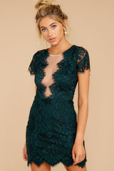 6 Some Nights Dark Emerald Lace Dress at reddressboutique.com