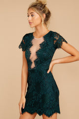 7 Some Nights Dark Emerald Lace Dress at reddressboutique.com
