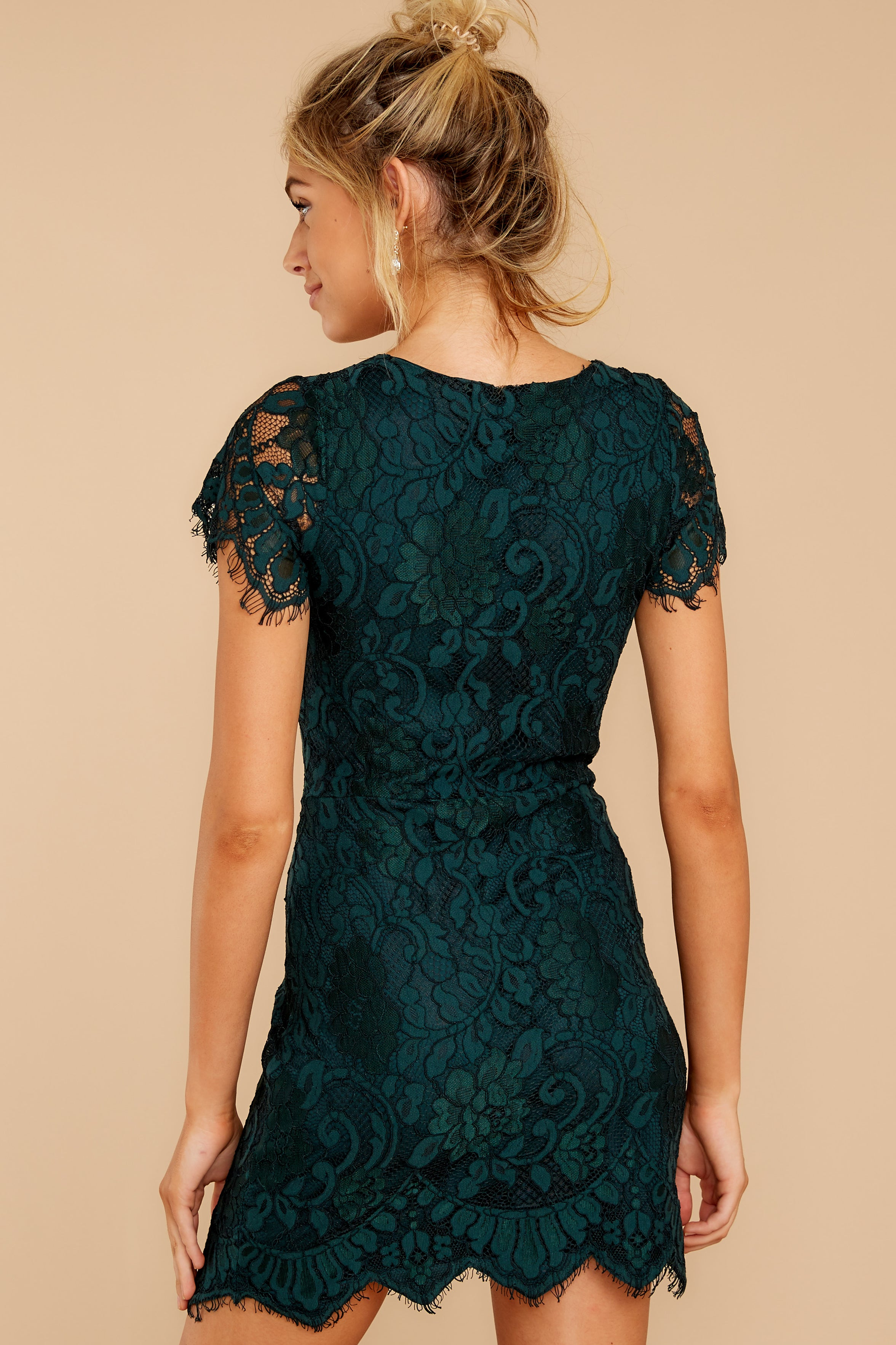 8 Some Nights Dark Emerald Lace Dress at reddressboutique.com