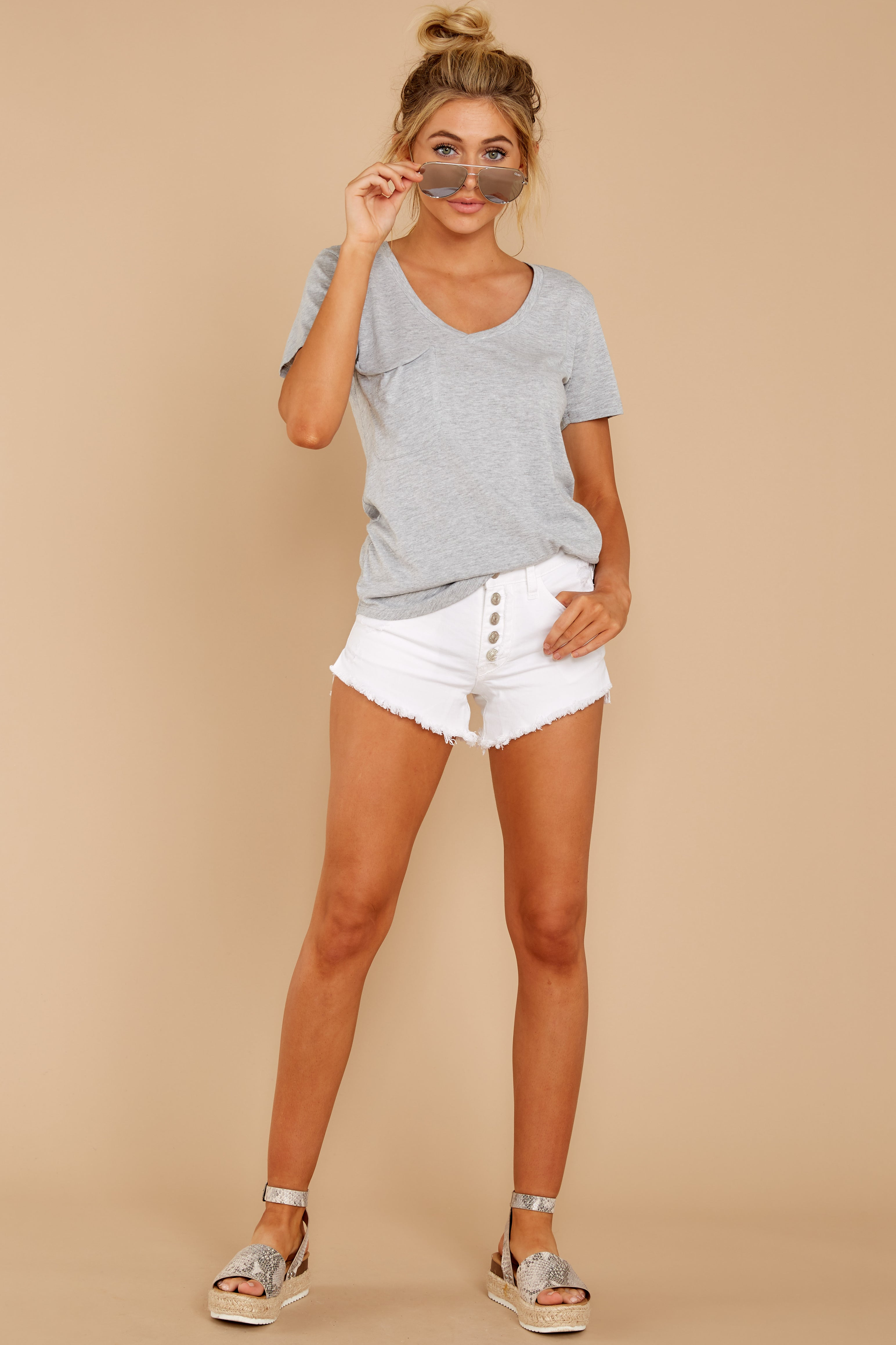 3 Pocket Tee in Heather Grey at reddressboutique.com