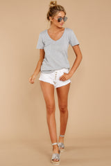 1 Pocket Tee in Heather Grey at reddressboutique.com
