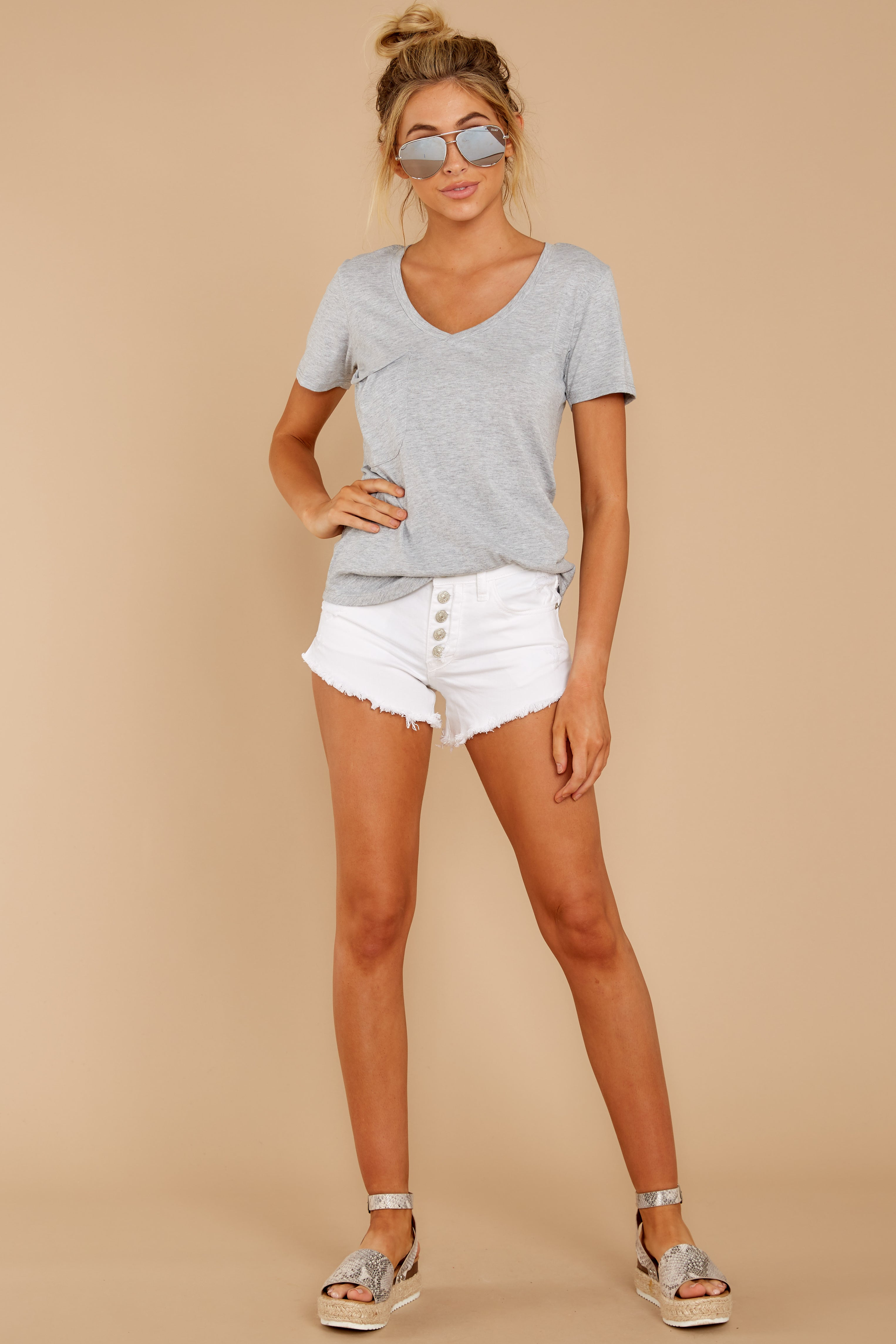 4 Pocket Tee in Heather Grey at reddressboutique.com