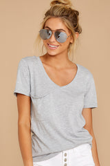 6 Pocket Tee in Heather Grey at reddressboutique.com