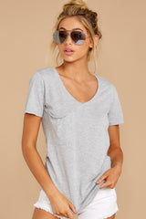 8 Pocket Tee in Heather Grey at reddressboutique.com
