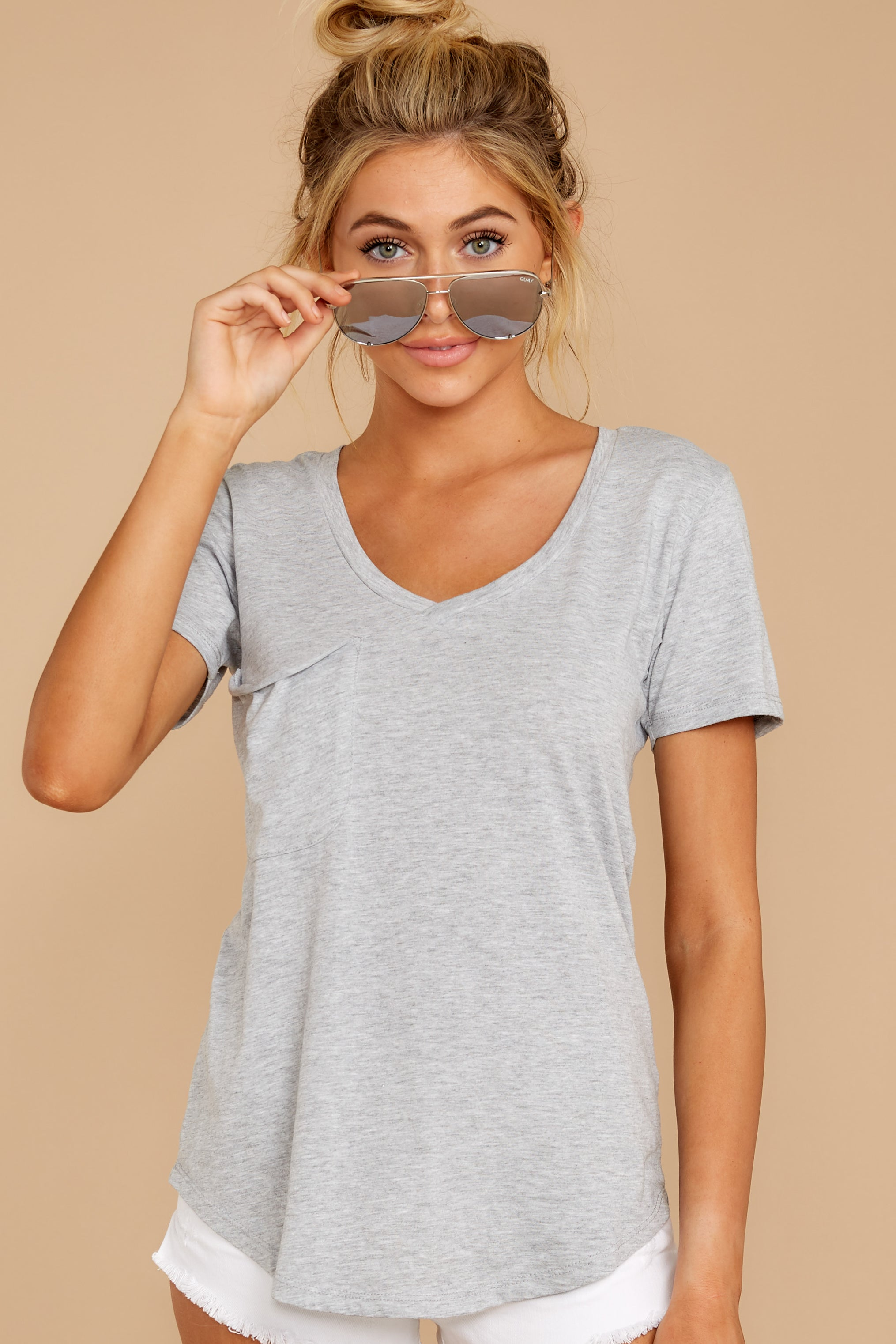 12 Pocket Tee in Heather Grey at reddressboutique.com