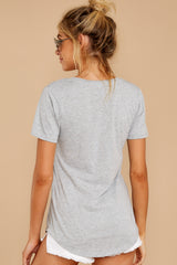 13 Pocket Tee in Heather Grey at reddressboutique.com