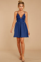 3 Freely Me Navy Blue Lace Dress at reddressboutique.com