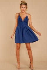 2 Freely Me Navy Blue Lace Dress at reddress.com