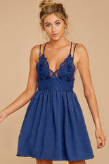5 Freely Me Navy Blue Lace Dress at reddress.com
