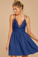 6 Freely Me Navy Blue Lace Dress at reddress.com