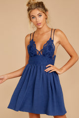 7 Freely Me Navy Blue Lace Dress at reddressboutique.com