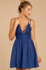 7 Freely Me Navy Blue Lace Dress at reddress.com