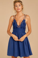 8 Freely Me Navy Blue Lace Dress at reddress.com