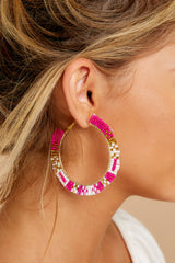 1 Intently Listening Pink Multi Beaded Earrings at reddressboutique.com