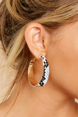 1 Spirited Poise Snakeskin Hoop Earrings at reddressboutique.com