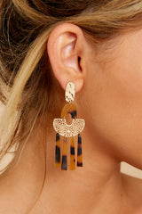 1 Oh Hi There Tortoise And Gold Acrylic Earrings at reddressboutique.com