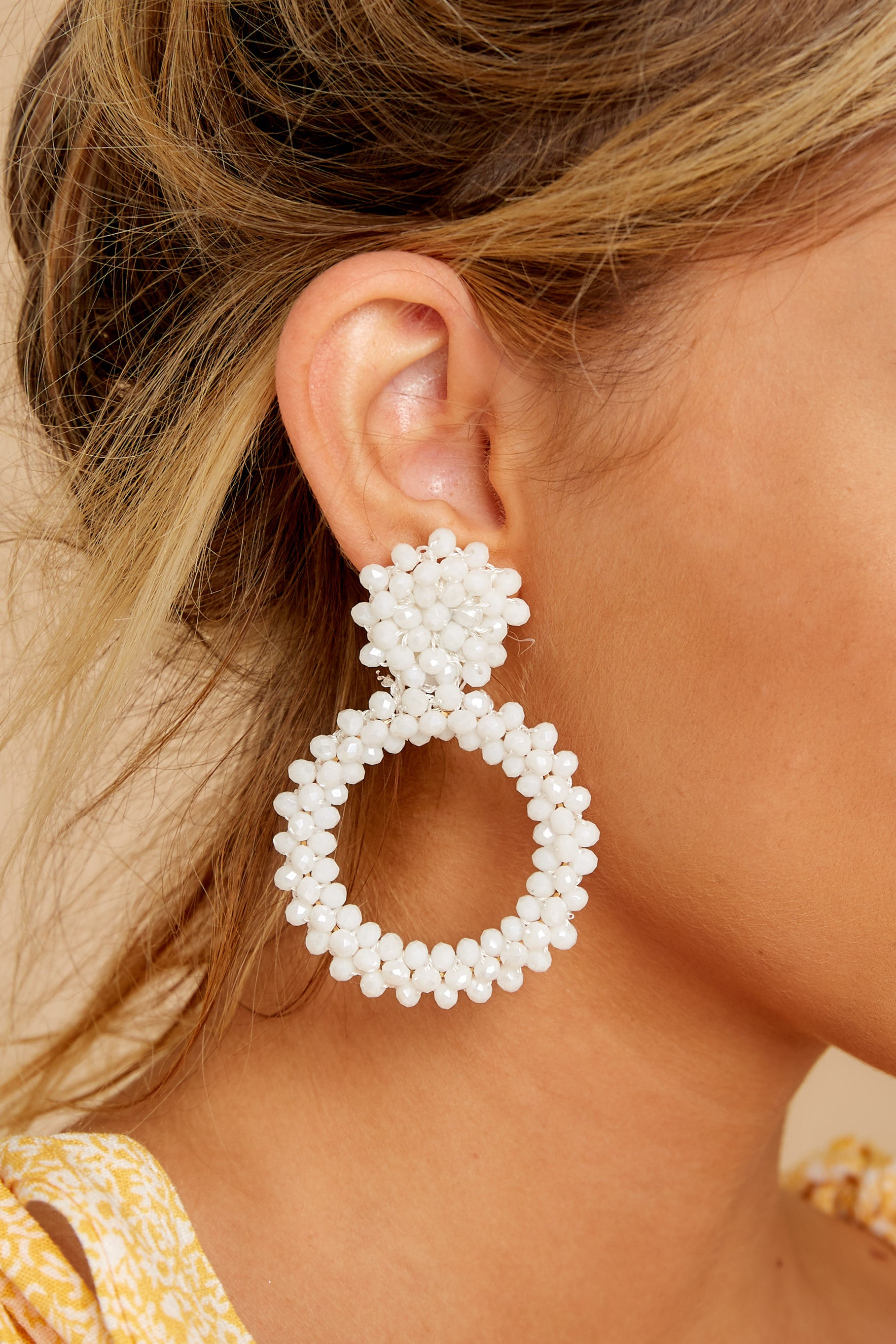 4 Multifaceted Charm White Earrings at reddressboutique.com