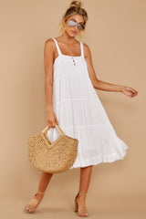 3 Thinking Out Loud White Midi Dress at reddressboutique.com
