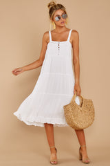 5 Thinking Out Loud White Midi Dress at reddressboutique.com